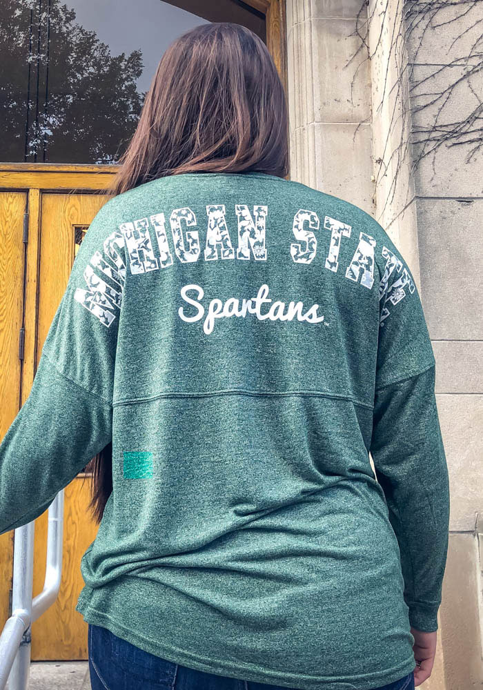 Michigan State Spartans Womens Green Floral LS Tee - Image 3