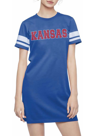 Kansas Jayhawks Womens Blue Jersey Stripe Dress