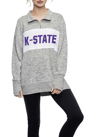 K-State Wildcats Womens Pullover Grey 1/4 Zip Pullover