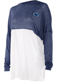 Penn State Nittany Lions Womens Colorblock Varsity Jersey T-Shirt - Navy Blue