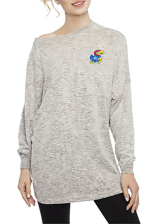 Kansas Jayhawks Womens Cozy Fleece Grey LS Tee