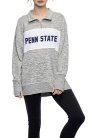 Penn State Nittany Lions Womens Cozy Fleece Grey 1/4 Zip Pullover