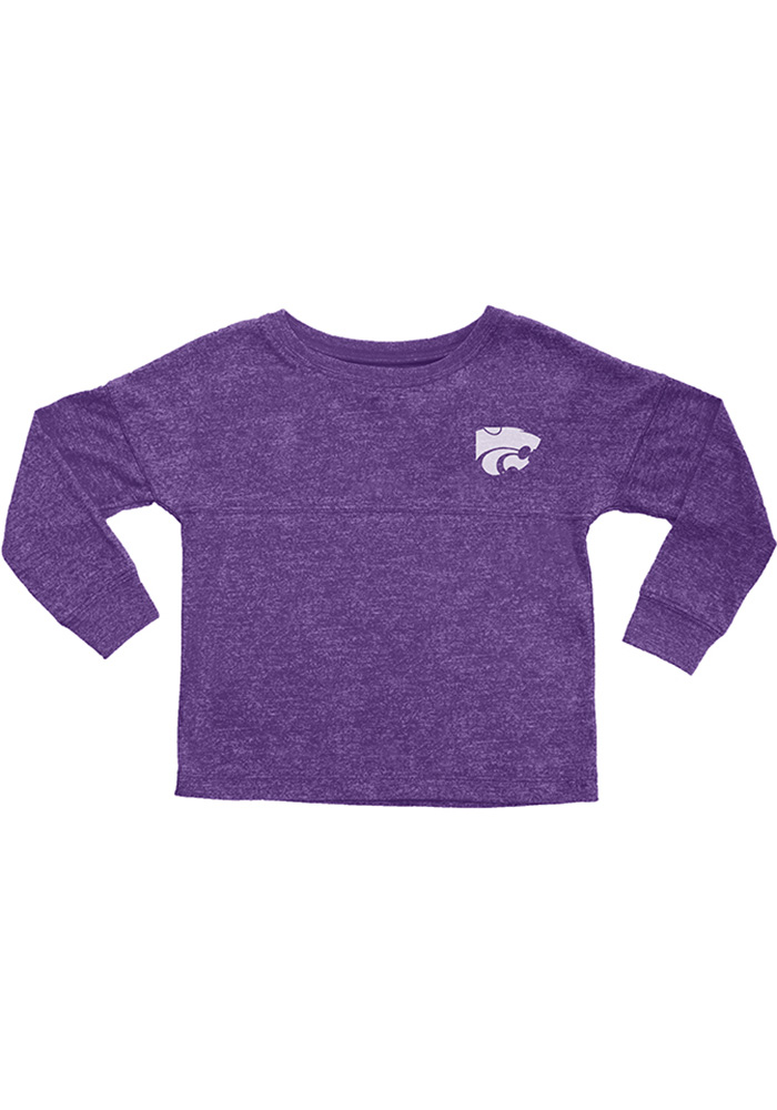 K-State Wildcats Girls Purple Varsity Floral Long Sleeve T-shirt, Purple, 50% POLY/50% RAYON, Size L