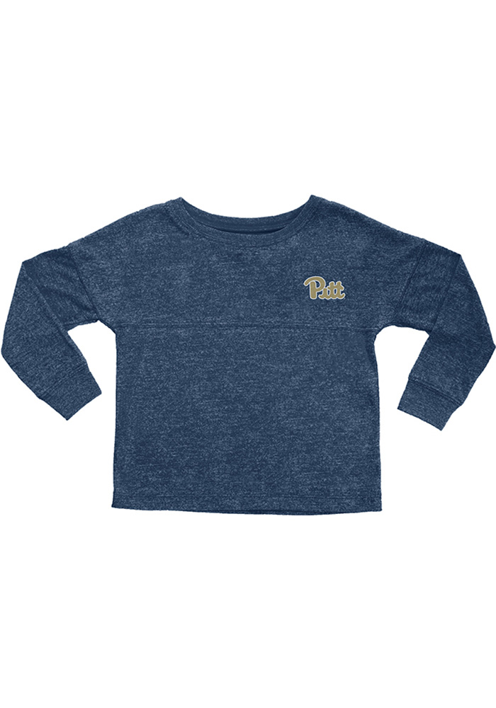 Pitt Panthers Girls Navy Blue Varsity Floral Long Sleeve T-shirt - Image 1