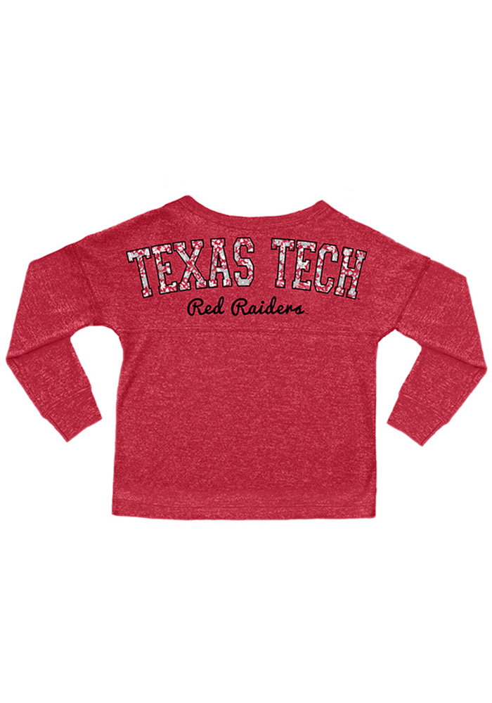 Texas Tech Red Raiders Girls Red Varsity Floral Long Sleeve T-shirt - Image 2