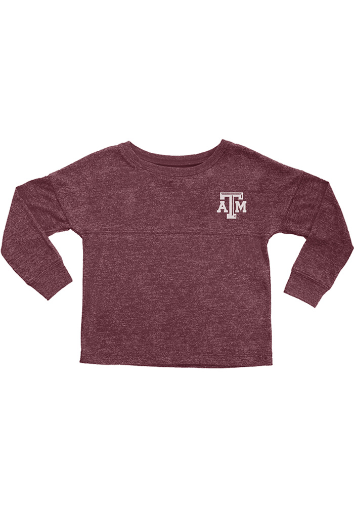 Texas A&M Aggies Girls Maroon Varsity Floral Long Sleeve T-shirt - Image 1
