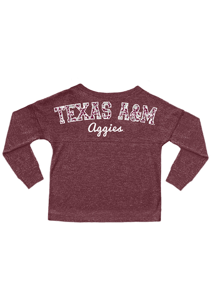 Texas A&M Aggies Girls Maroon Varsity Floral Long Sleeve T-shirt - Image 2