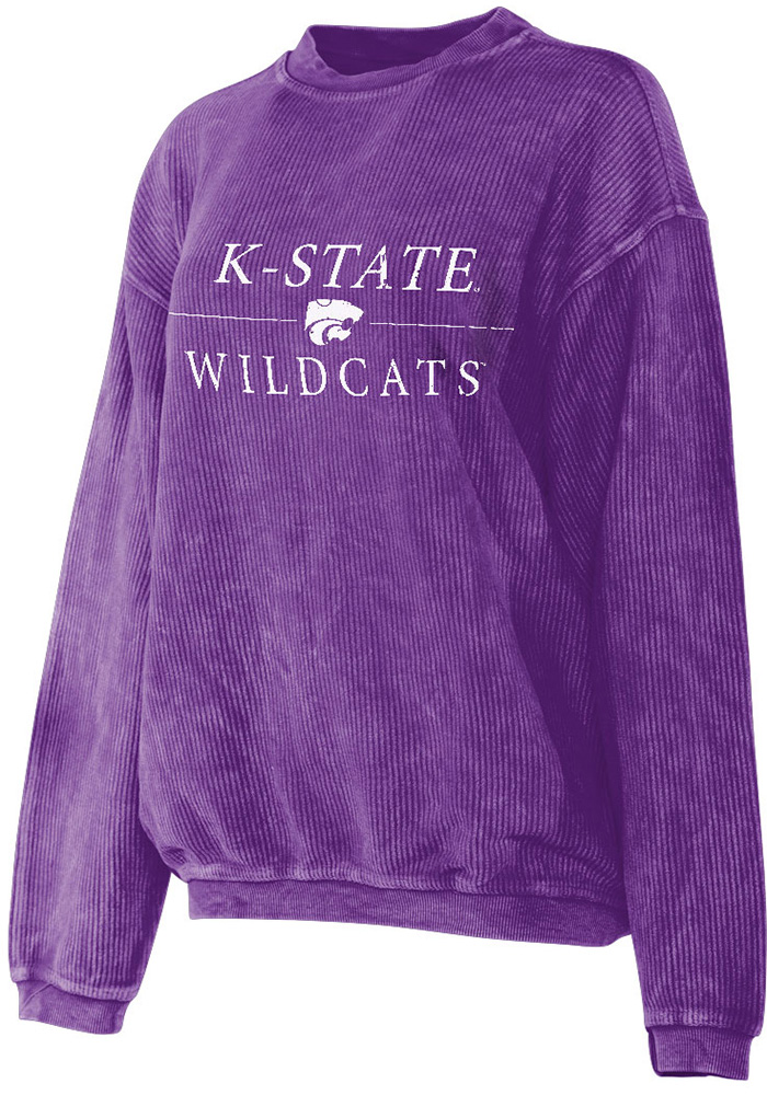 K-State Wildcats Womens Corded Purple Crew Sweatshirt