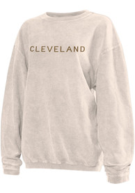 Cleveland Womens Natural Long Sleeve Corded Crew Sweatshirt