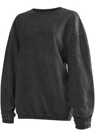 Pittsburgh Womens Dark Grey Long Sleeve Corded Crew Sweatshirt