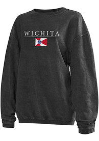 Wichita Womens Dark Grey Long Sleeve Corded Crew Sweatshirt
