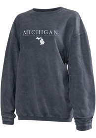 Michigan Womens Navy Long Sleeve Corded Crew Sweatshirt