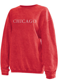 Chicago Womens Red Long Sleeve Corded Crew Sweatshirt