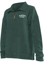 Michigan State Spartans Womens Green Corded Quarter 1/4 Zip Pullover