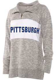 Pitt Panthers Womens Cozy 1/4 Zip Pullover - Grey