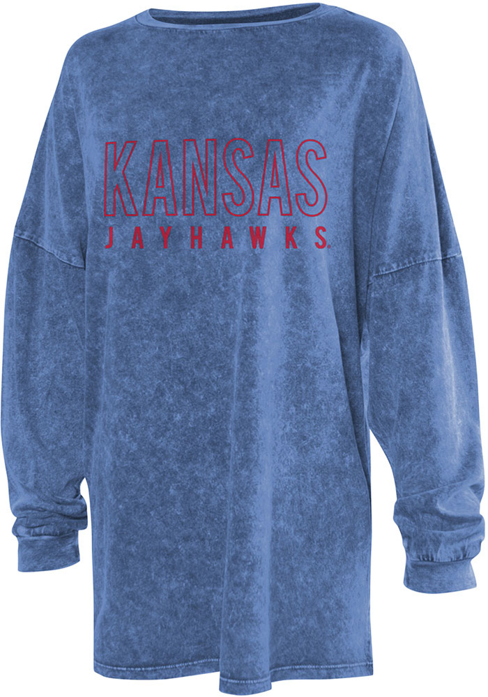 Kansas Jayhawks Womens Blue College LS Tee - Image 1