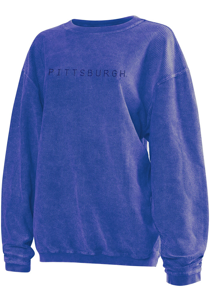 Pitt Panthers Womens Blue Corded Crew Sweatshirt - Image 1