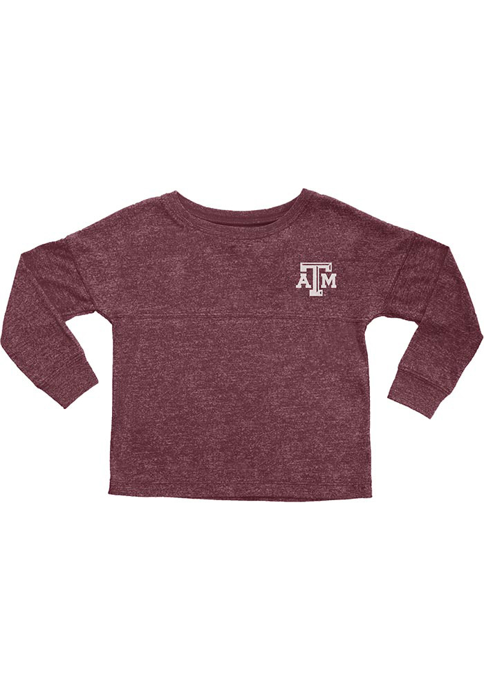 Texas A&M Aggies Girls Maroon Varsity Jersey Long Sleeve T-shirt - Image 1