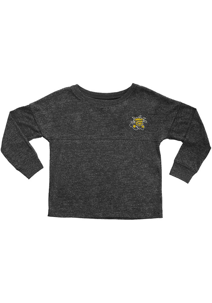 Wichita State Shockers Toddler Girls Black Varsity Jersey Long Sleeve T Shirt - Image 1