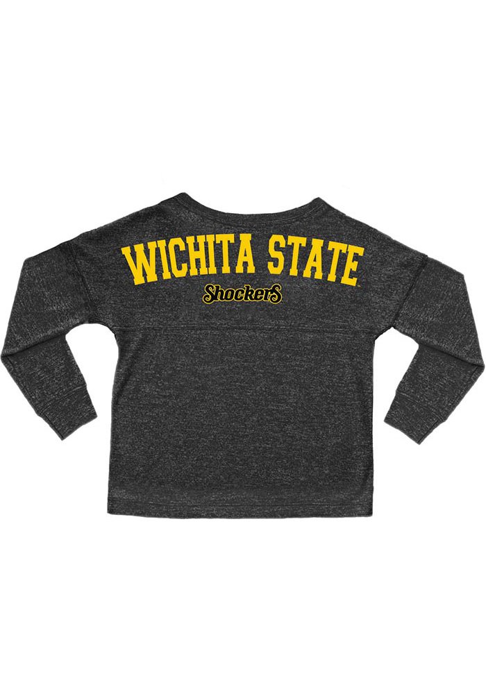 Wichita State Shockers Toddler Girls Black Varsity Jersey Long Sleeve T Shirt - Image 2