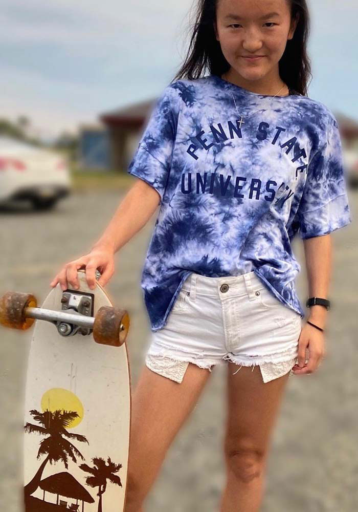 Penn State Nittany Lions Womens Blue Tie-Dye Slouchy Arch Short Sleeve T-Shirt - Image 2