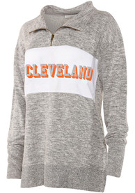 Cleveland Womens Cozy Quarter Zip Grey 1/4 Zip Pullover