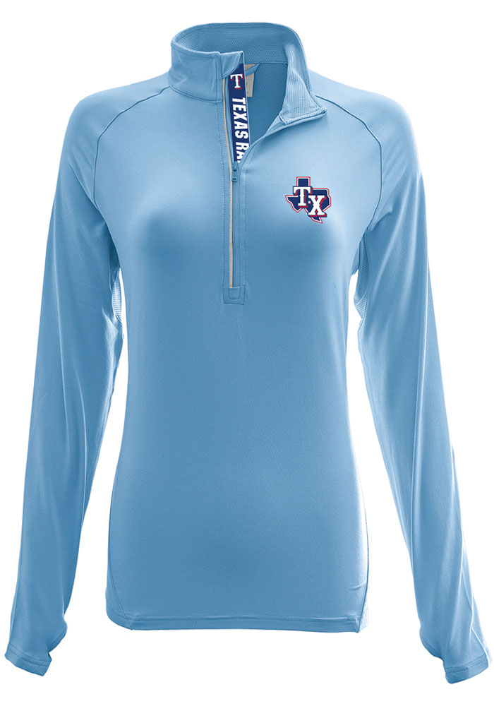 Texas Rangers Womens Energy Light Blue 1/4 Zip Pullover