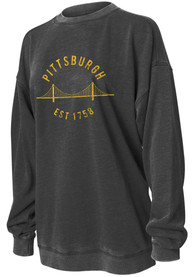 Pittsburgh Women's Charcoal Campus Over-sized Long Sleeve Crew