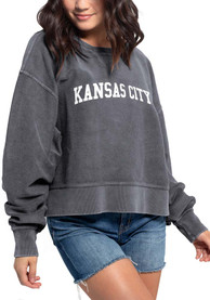 Kansas City Women's Charcoal Corded Boxy Pullover Long Sleeve Crew