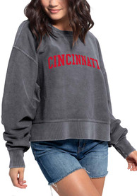 Cincinnati Women's Charcoal Corded Boxy Pullover Long Sleeve Crew