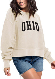 Ohio Women's Natural Corded Boxy Pullover Long Sleeve Crew