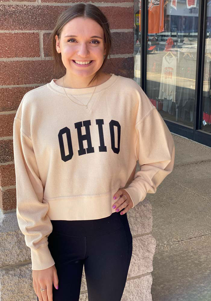 Ohio Women's Natural Corded Boxy Pullover Long Sleeve Crew - Image 2