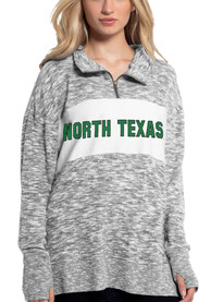 North Texas Mean Green Womens Cozy 1/4 Zip Pullover - Grey