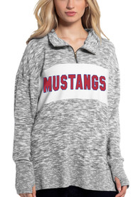 SMU Mustangs Womens Cozy 1/4 Zip Pullover - Grey