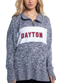 Dayton Flyers Womens Cozy 1/4 Zip Pullover - Navy Blue