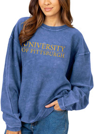 Pitt Panthers Womens Corded Crew Sweatshirt - Blue