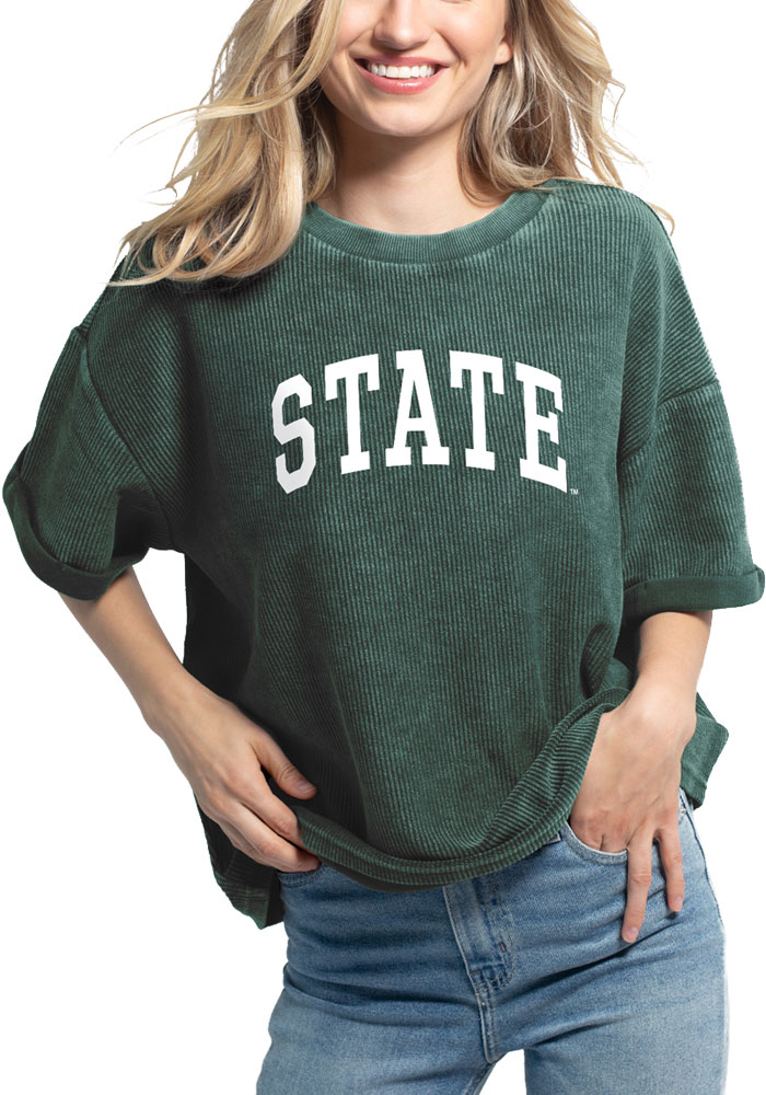 Michigan State Spartans Womens Green Corded Throwback Short Sleeve T-Shirt - Image 1