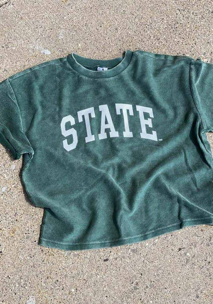 Michigan State Spartans Womens Green Corded Throwback Short Sleeve T-Shirt - Image 2