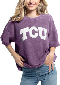 TCU Horned Frogs Womens Corded Throwback T-Shirt - Purple