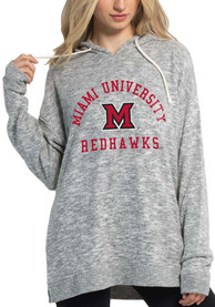 Miami RedHawks Womens Cozy Tunic Hooded Sweatshirt - Grey