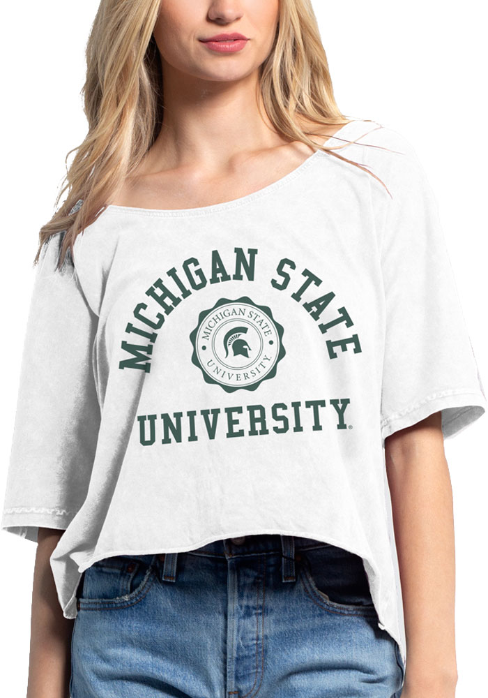 Michigan State Spartans Womens White Off the Shoulder Short Sleeve T-Shirt - Image 1