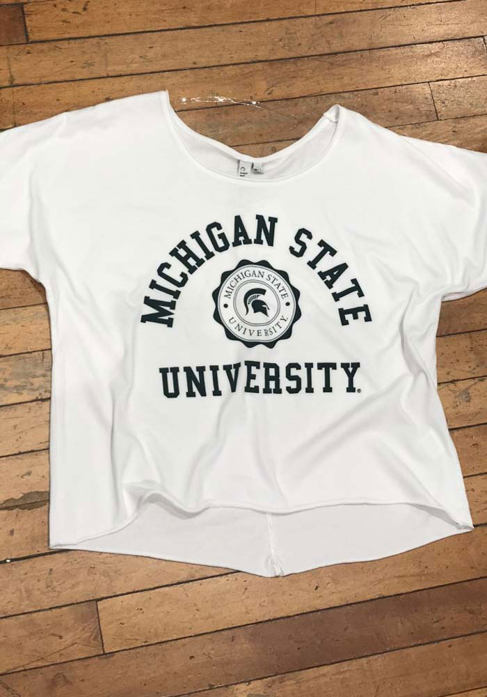 Michigan State Spartans Womens White Off the Shoulder Short Sleeve T-Shirt - Image 2