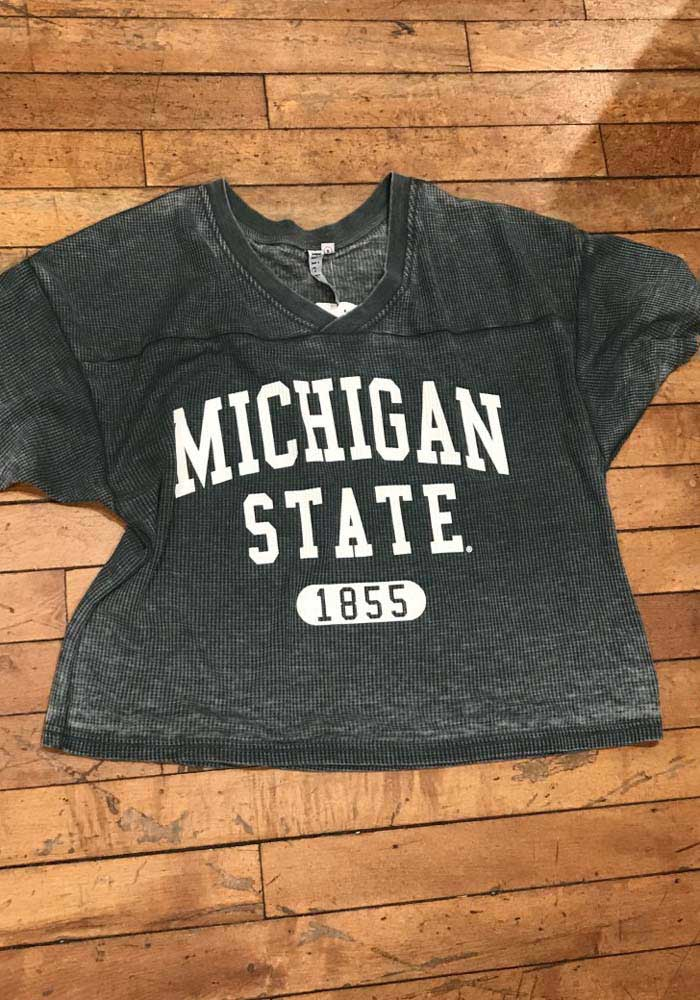 Michigan State Spartans Womens Green Waffle Jersey Short Sleeve T-Shirt - Image 2