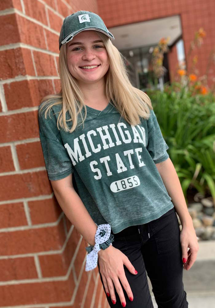 Michigan State Spartans Womens Green Waffle Jersey Short Sleeve T-Shirt - Image 3