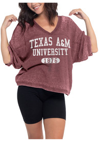 Texas A&M Aggies Womens Waffle Jersey T-Shirt - Maroon