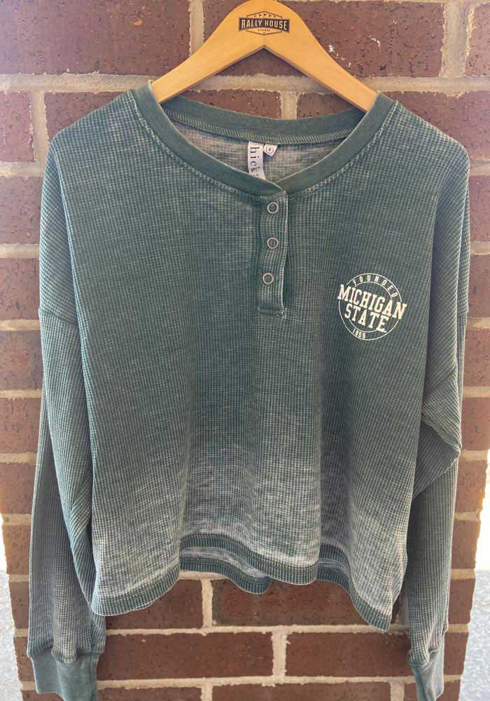 Michigan State Spartans Womens Green Waffle Boxy Henley LS Tee - Image 2