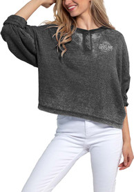 Texas A&M Aggies Womens Waffle Boxy Henley T-Shirt - Charcoal