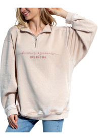Oklahoma Sooners Womens Everybody 1/4 Zip Pullover - Oatmeal