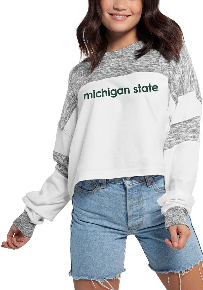 Michigan State Spartans Womens White Cozy Colorblock LS Tee - Image 1