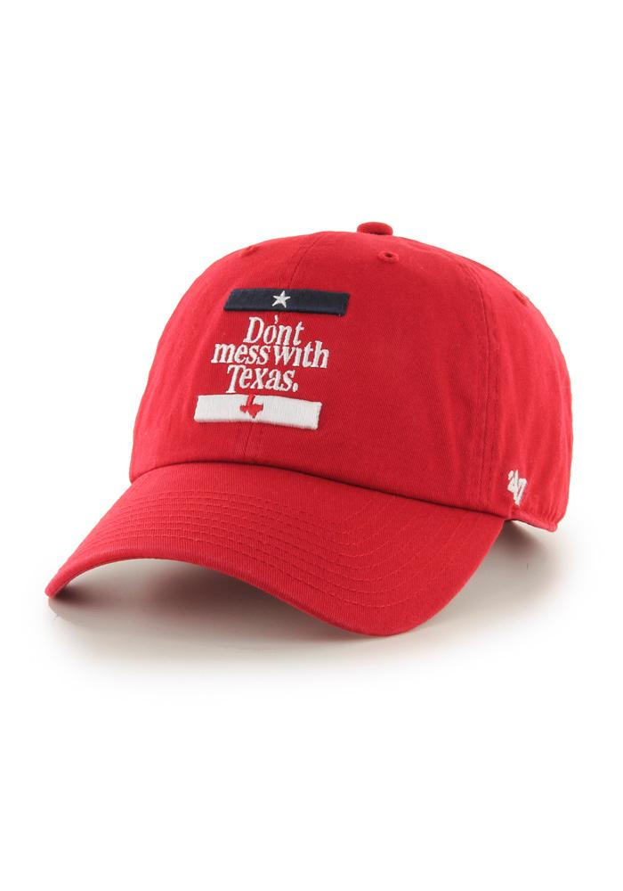 Texas Mens Red Don't Mess w/ Texas Adjustable Hat - Image 1